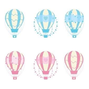 Ilustración con amor colecciones de globos aerostáticos adecuados para la tarjeta del día de san valentín