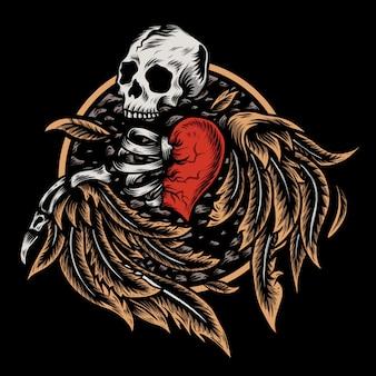Ilustración de amor de cráneo