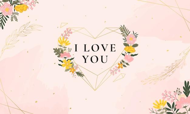 Ilustración de amor con flores vintage y diamante