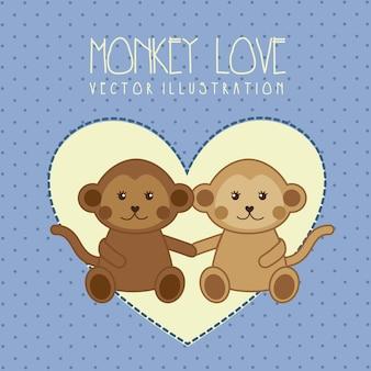 Tarjeta De San Valentín Con Pareja De Monos Enamorados