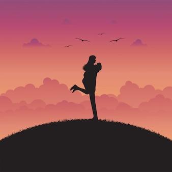 Ilustración de amor y paisaje romántico con pareja enamorada.
