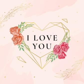 Ilustración de amor con rosas de acuarela y diamante de oro