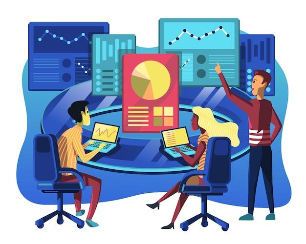 Ilustración de análisis de datos, analice todos los informes de datos para una empresa.