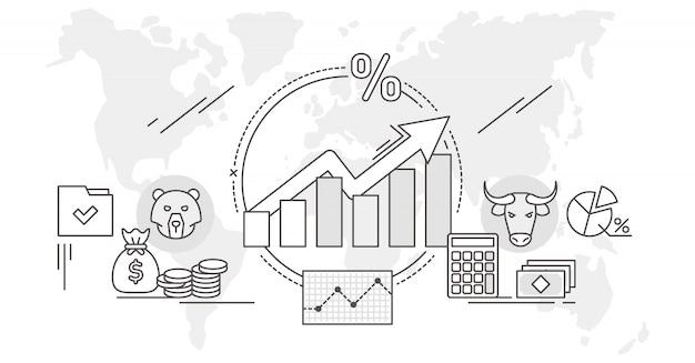 Ilustración de análisis de datos de concepto de esquema de mercado de valores