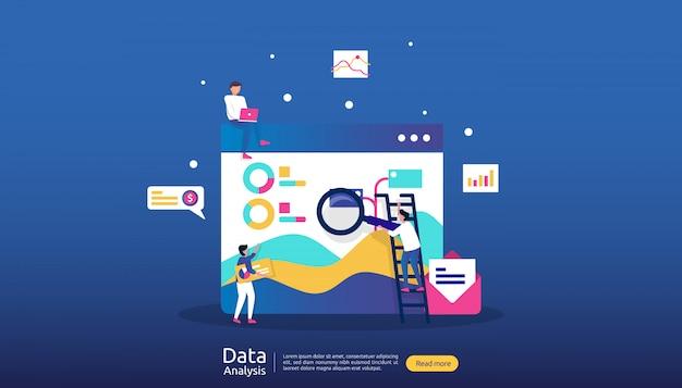 Ilustración de análisis de datos digitales para investigación de mercado y estrategia de marketing digital