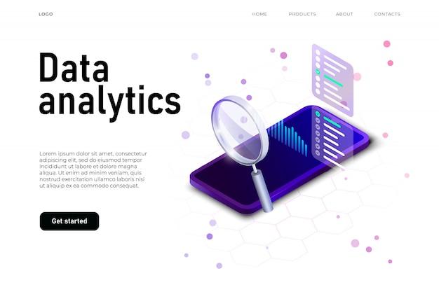Ilustración de análisis de datos con smartphone isométrico realista y placa de datos grande, lupa grande