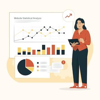 Ilustración de análisis estadístico del sitio web del concepto de estadísticas del sitio