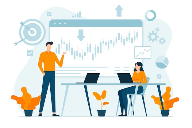Ilustración de análisis del mercado de valores
