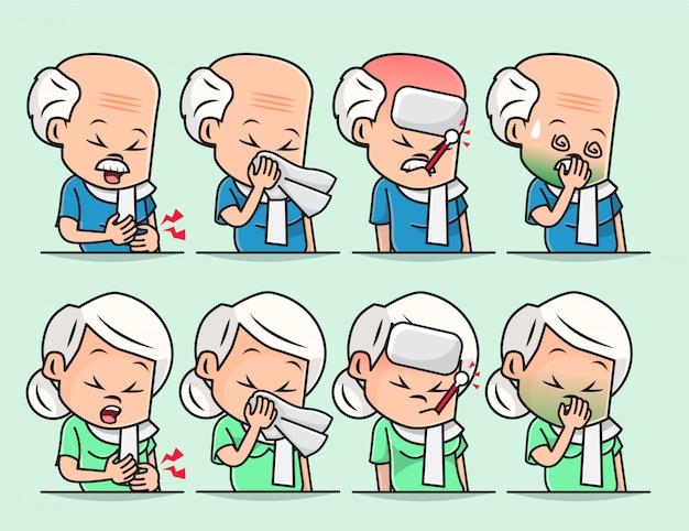 Ilustración del anciano abuelo y abuela enfermos, malestar, dolor de cabeza, resfriado, gripe estacional, tos y secreción nasal
