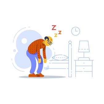 Ilustración de anciano soñoliento