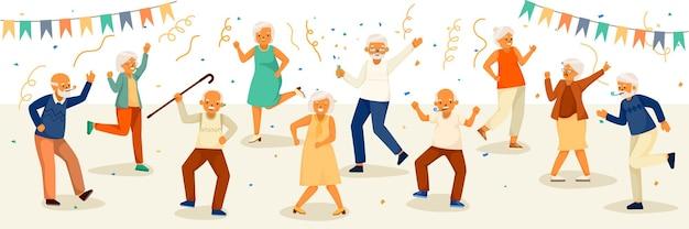 Ilustración de ancianos bailando en una fiesta