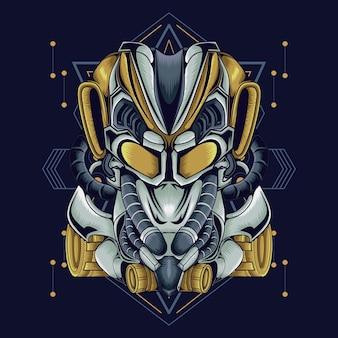 Ilustración de androbot con geométrica
