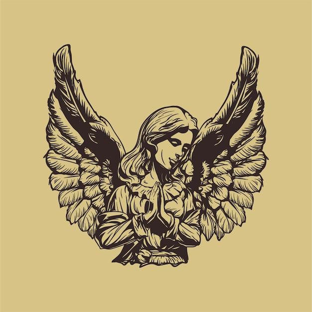 Ilustración de angel hand drawn