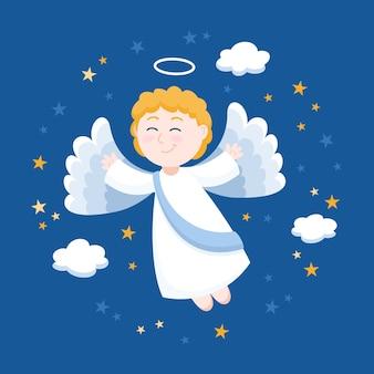 Ilustración de ángel de navidad de diseño plano