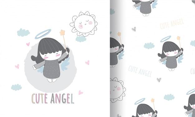 Ilustración de ángulo lindo para niños con patrones sin fisuras