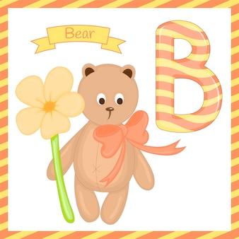 Ilustración del animal aislado alfabeto b con dibujos animados de oso