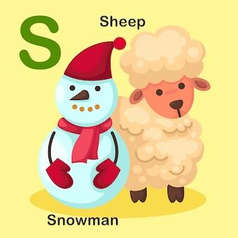 Ilustración animal aislado alfabeto letra s-muñeco de nieve, oveja