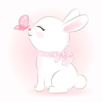 Ilustración de animal dibujado a mano lindo conejo y mariposa