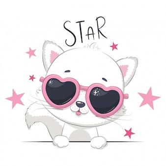 Ilustración animal con gato linda chica con gafas.