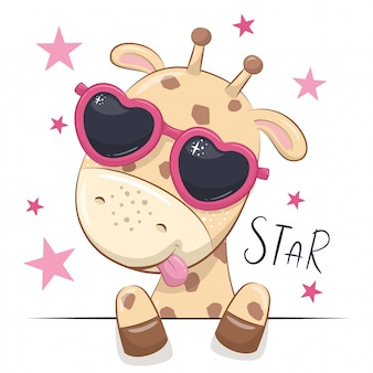 Ilustración animal con jirafa linda chica con gafas.