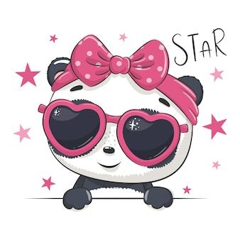 Ilustración animal con linda chica panda con gafas.