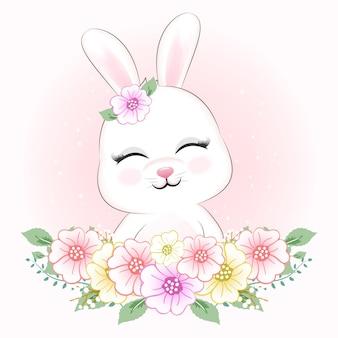 Ilustración animal lindo conejo y flores