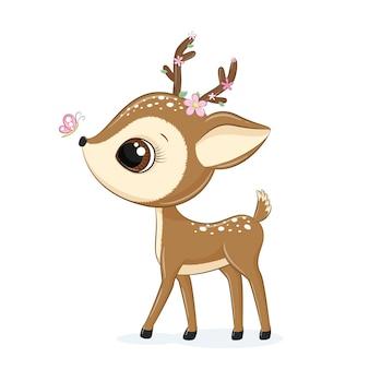 Ilustración animal lindo pequeño ciervo con flores y mariposas.