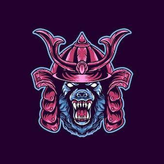 Ilustración de animal lobo samurai