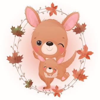 Ilustración de animales adorables para la decoración de la temporada de otoño