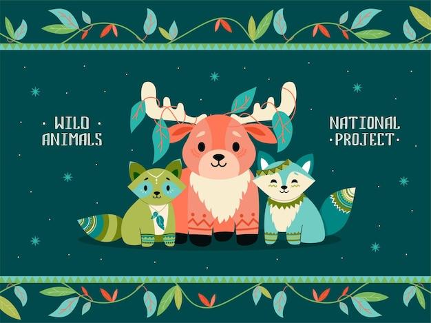 Ilustración con animales boho. lindo mapache, zorro, reno con decoraciones.
