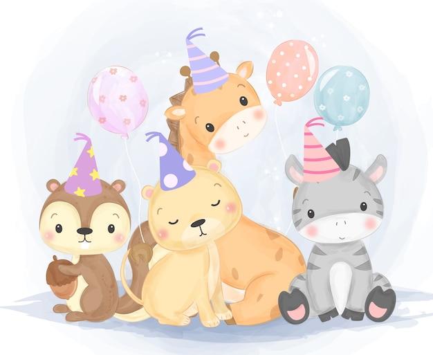 Ilustración de animales de cumpleaños lindo