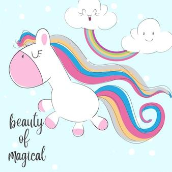 Ilustración de animales dibujados a mano de unicornio