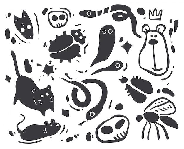 Ilustración de animales de dibujo de dibujos animados