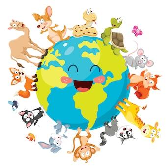 Ilustración de animales de dibujos animados