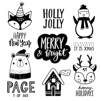 Ilustración de animales de doodle dibujados a mano de navidad.