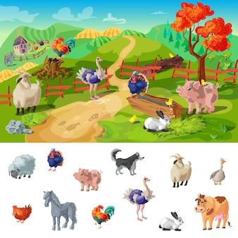 Ilustración de animales de granja de dibujos animados