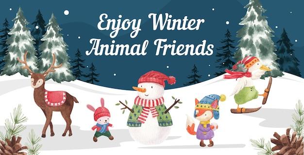Ilustración de animales de invierno
