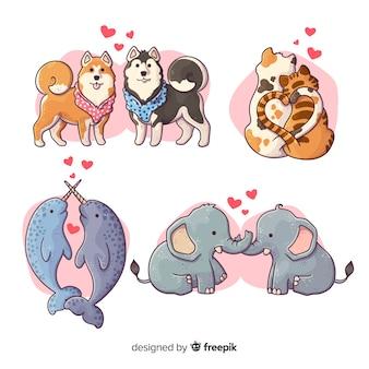 Ilustración de animales lindos en la colección de amor