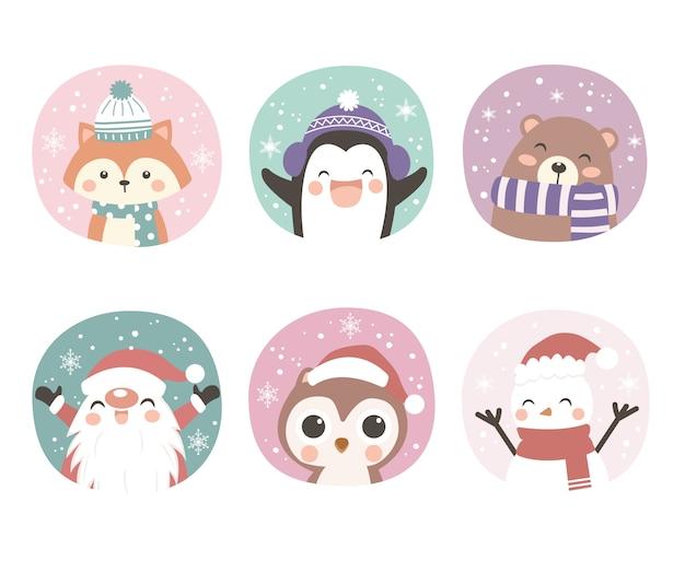 Ilustración de animales lindos para decoración navideña