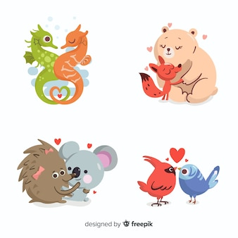 Ilustración de animales lindos enamorados