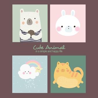 Ilustración de animales lindos de millie