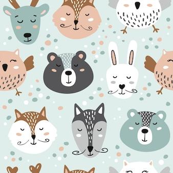 Ilustración con animales lindos oso, zorro, liebre, lobo, búho, venado.