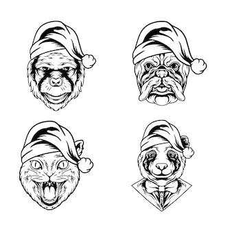 Ilustración de animales navideños