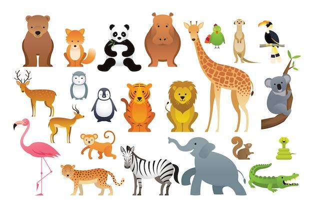 Ilustración de animales salvajes en dibujado a mano