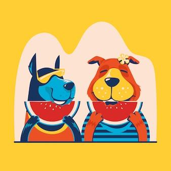 Ilustración de animales de verano. perros comiendo fruta fresca sandía