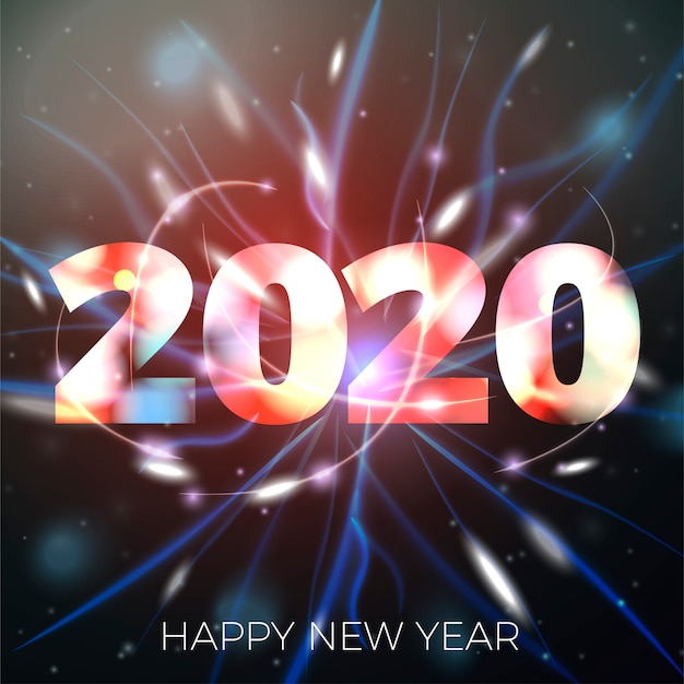 Ilustración de año nuevo 2020 sobre fondo bokeh brillante con luces borrosas