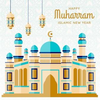 Ilustración de año nuevo islámico con castillo