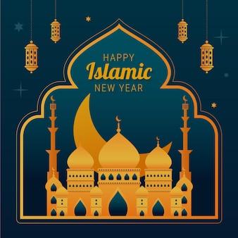 Ilustración de año nuevo islámico degradado