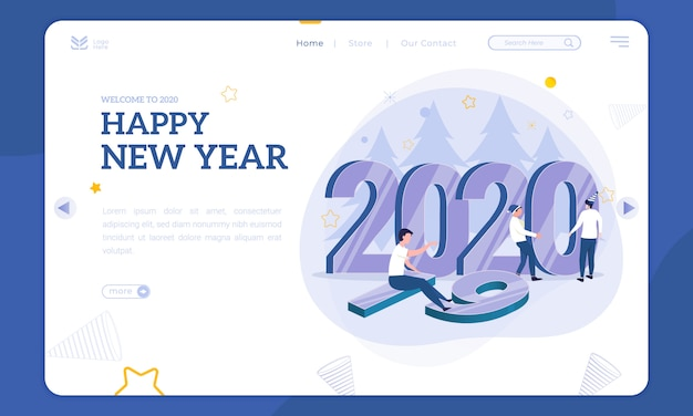 Ilustración de año nuevo en la página de inicio, ponga el número 2020 para reemplazar 2019