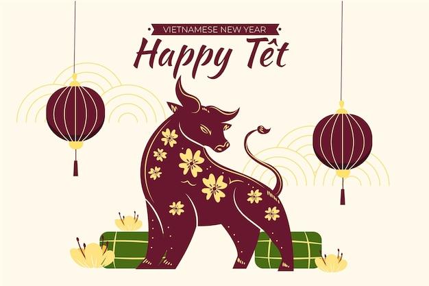 Ilustración de año nuevo vietnamita
